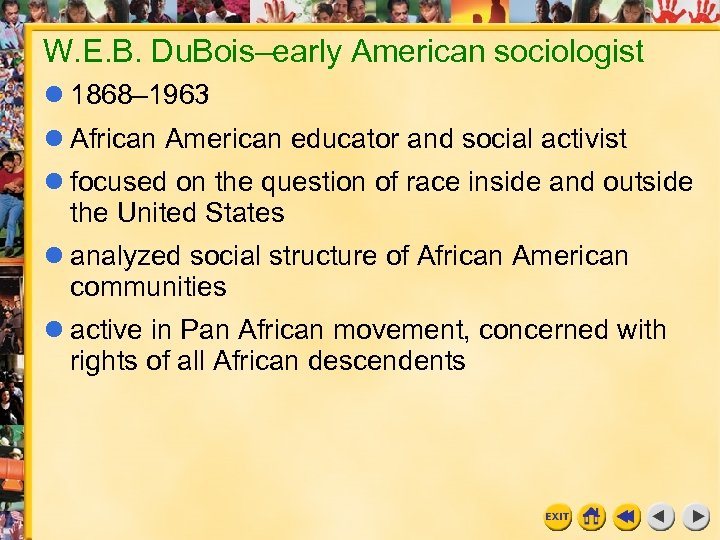 W. E. B. Du. Bois–early American sociologist 1868– 1963 African American educator and social