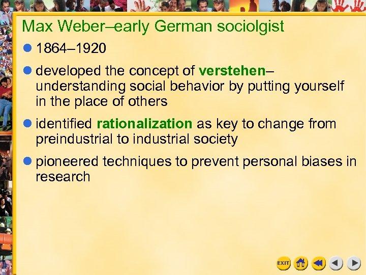 Max Weber–early German sociolgist 1864– 1920 developed the concept of verstehen– understanding social behavior