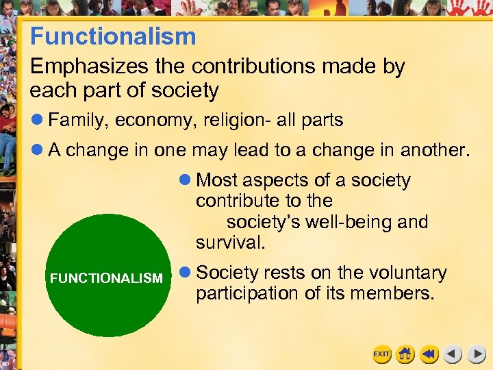 Functionalism Emphasizes the contributions made by each part of society Family, economy, religion- all