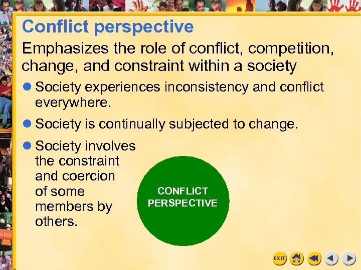 Conflict perspective Emphasizes the role of conflict, competition, change, and constraint within a society