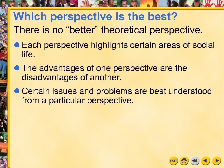 "Which perspective is the best? There is no ""better"" theoretical perspective. Each perspective highlights"