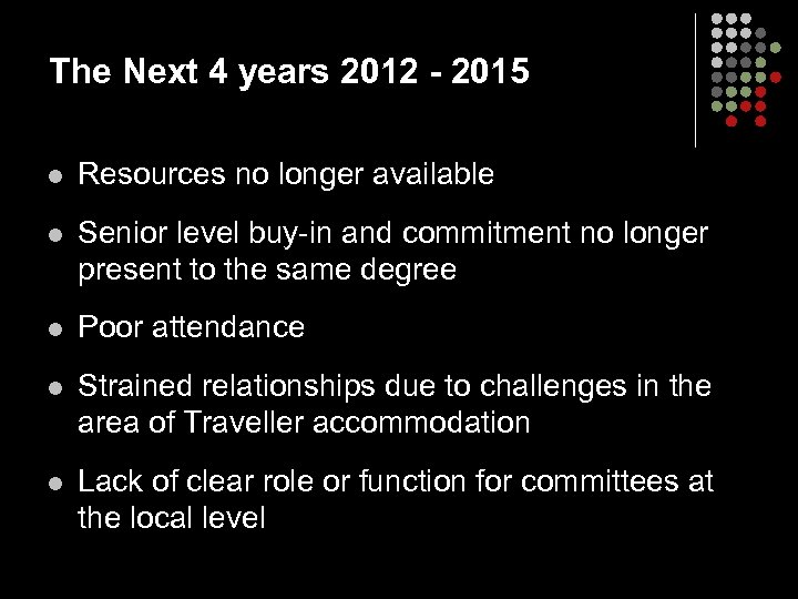 The Next 4 years 2012 - 2015 l Resources no longer available l Senior