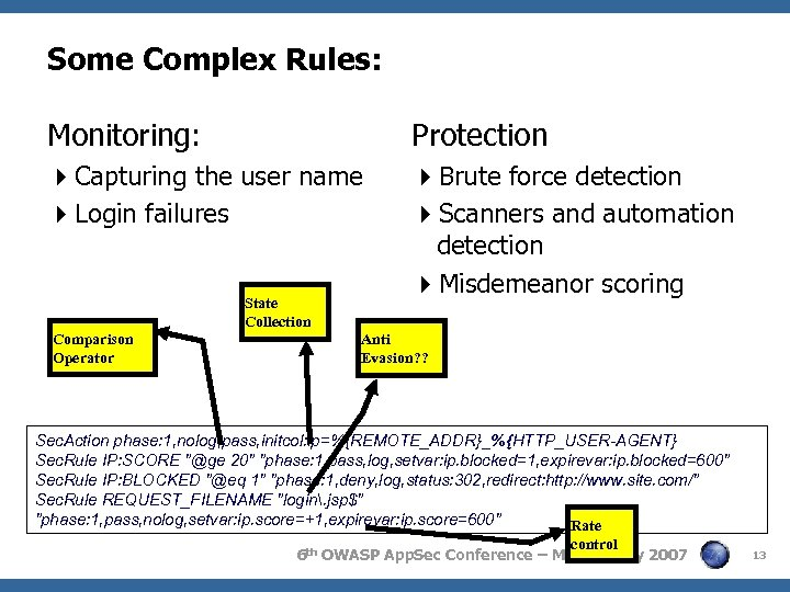 Some Complex Rules: Monitoring: Protection 4 Capturing the user name 4 Login failures 4