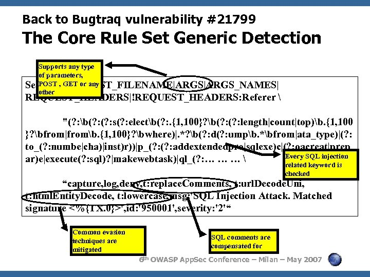 Back to Bugtraq vulnerability #21799 The Core Rule Set Generic Detection Supports any type