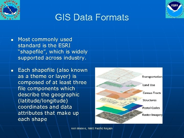 "GIS Data Formats n n Most commonly used standard is the ESRI ""shapefile"", which"