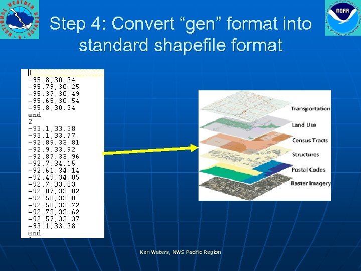 "Step 4: Convert ""gen"" format into standard shapefile format Ken Waters, NWS Pacific Region"