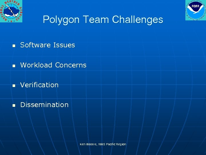 Polygon Team Challenges n Software Issues n Workload Concerns n Verification n Dissemination Ken