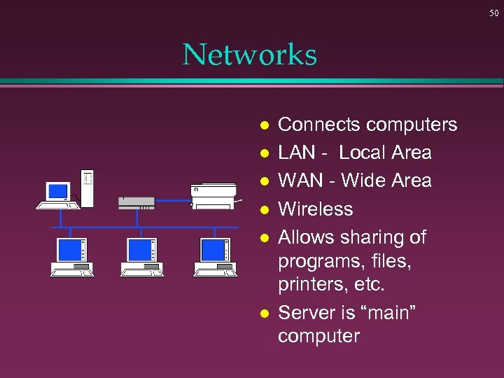 50 Networks l l l Connects computers LAN - Local Area WAN - Wide