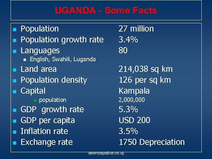 UGANDA - Some Facts n n n Population growth rate Languages n n English,