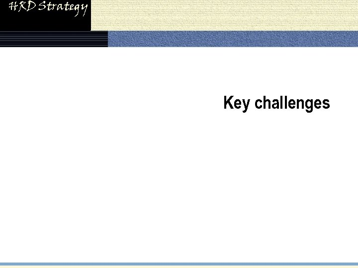 HRD Strategy Key challenges