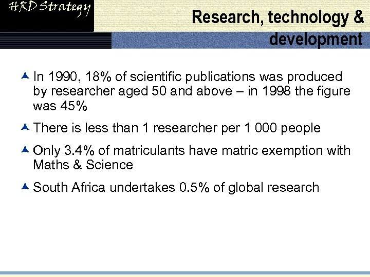 HRD Strategy Research, technology & development æ In 1990, 18% of scientific publications was