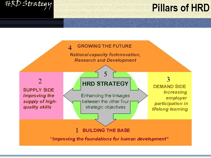 HRD Strategy Pillars of HRD 4 GROWING THE FUTURE National capacity for. Innovation, Research