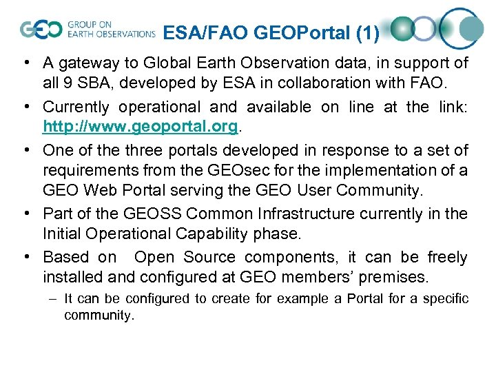 ESA/FAO GEOPortal (1) • A gateway to Global Earth Observation data, in support of