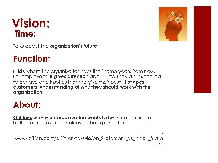 Vision: Time: Talks about the organization's future Function: It lists where the organization sees
