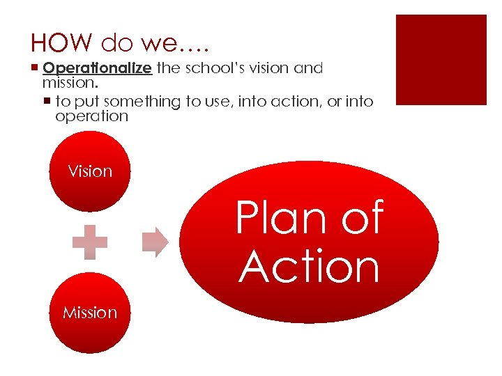HOW do we…. ¡ Operationalize the school's vision and mission. ¡ to put something