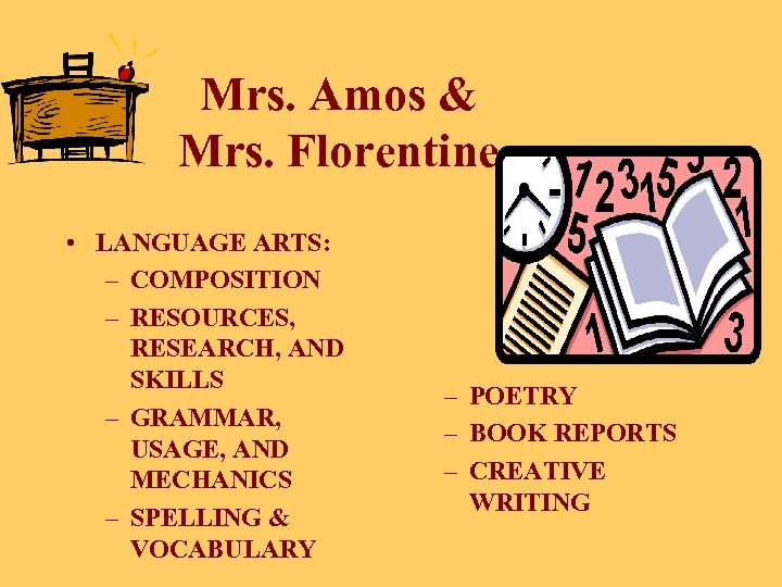 Mrs. Amos & Mrs. Florentine • LANGUAGE ARTS: – COMPOSITION – RESOURCES, RESEARCH, AND