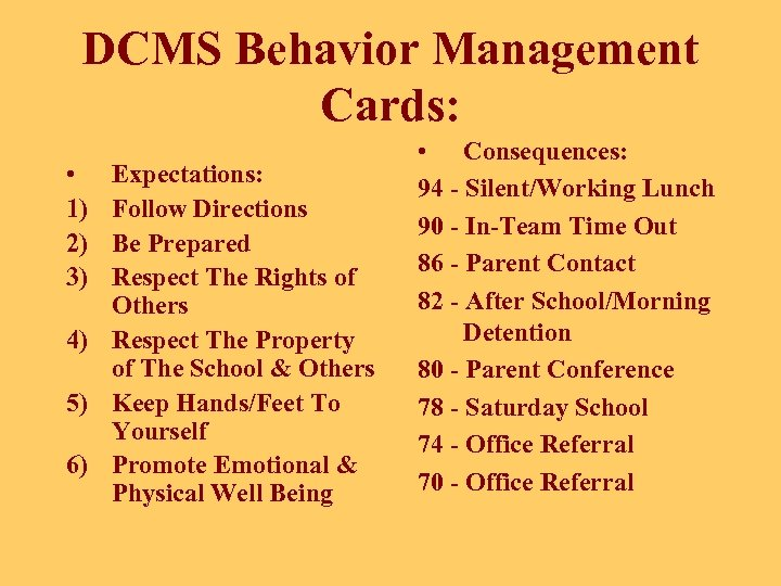 DCMS Behavior Management Cards: • 1) 2) 3) Expectations: Follow Directions Be Prepared Respect