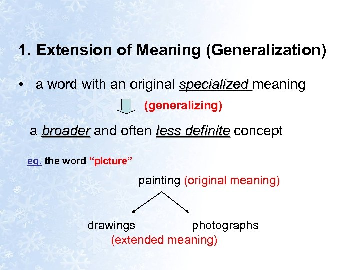 1. Extension of Meaning (Generalization) • a word with an original specialized meaning (generalizing)