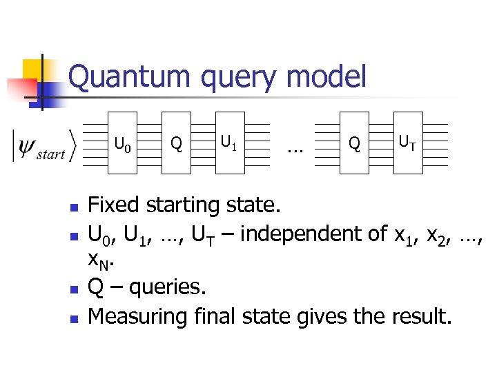 Quantum query model U 0 n n Q U 1 … Q UT Fixed