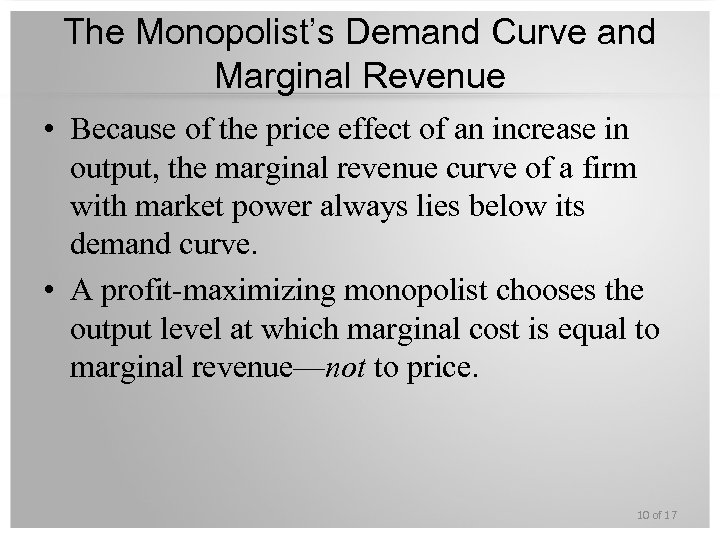 The Monopolist's Demand Curve and Marginal Revenue • Because of the price effect of