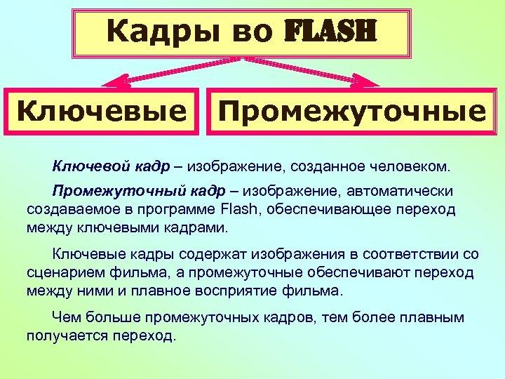 Кадры во Flash Ключевые Промежуточные Ключевой кадр – изображение, созданное человеком. Промежуточный кадр –