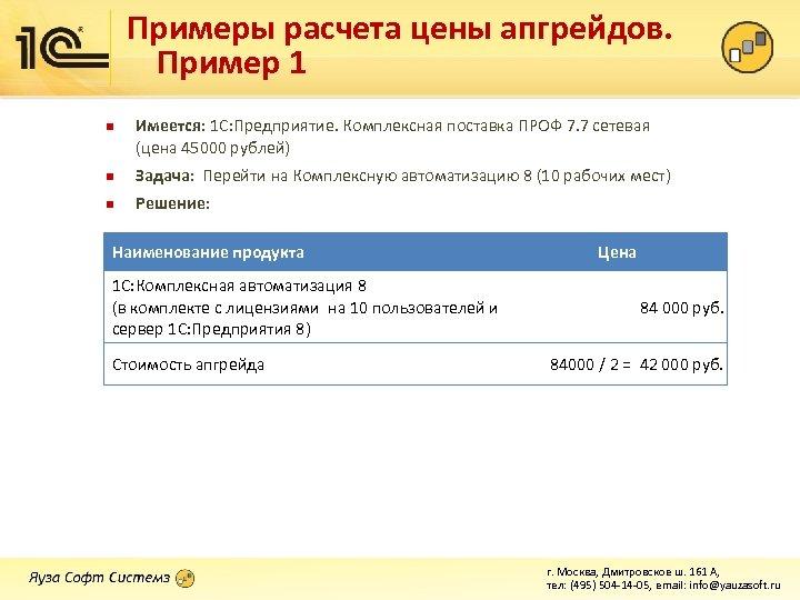 Примеры расчета цены апгрейдов. Пример 1 n Имеется: 1 С: Предприятие. Комплексная поставка ПРОФ