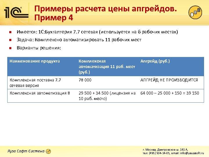 Примеры расчета цены апгрейдов. Пример 4 n Имеется: 1 С: Бухгалтерия 7. 7 сетевая