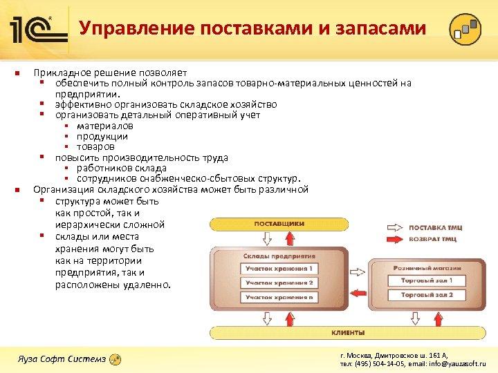 Управление поставками и запасами n n Прикладное решение позволяет § обеспечить полный контроль запасов