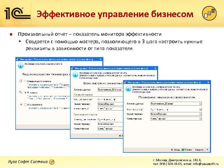 Эффективное управление бизнесом n Произвольный отчет – показатель монитора эффективности § Создается с помощью