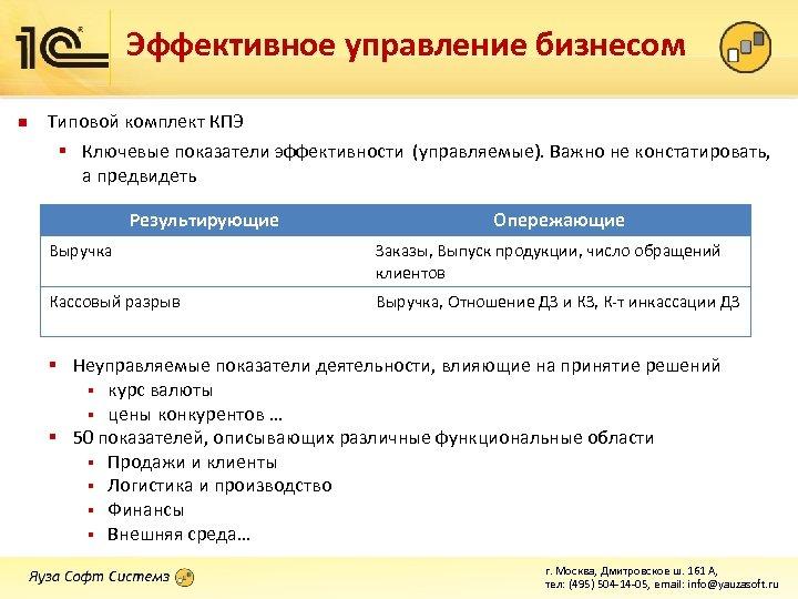Эффективное управление бизнесом n Типовой комплект КПЭ § Ключевые показатели эффективности (управляемые). Важно не