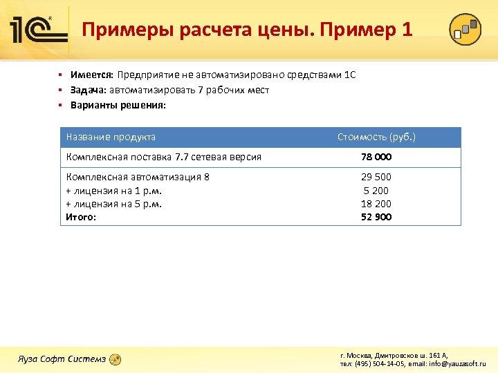 Примеры расчета цены. Пример 1 Имеется: Предприятие не автоматизировано средствами 1 С § Задача: