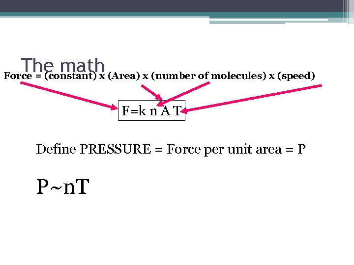 The math (Area) x (number of molecules) x (speed) Force = (constant) x F=k