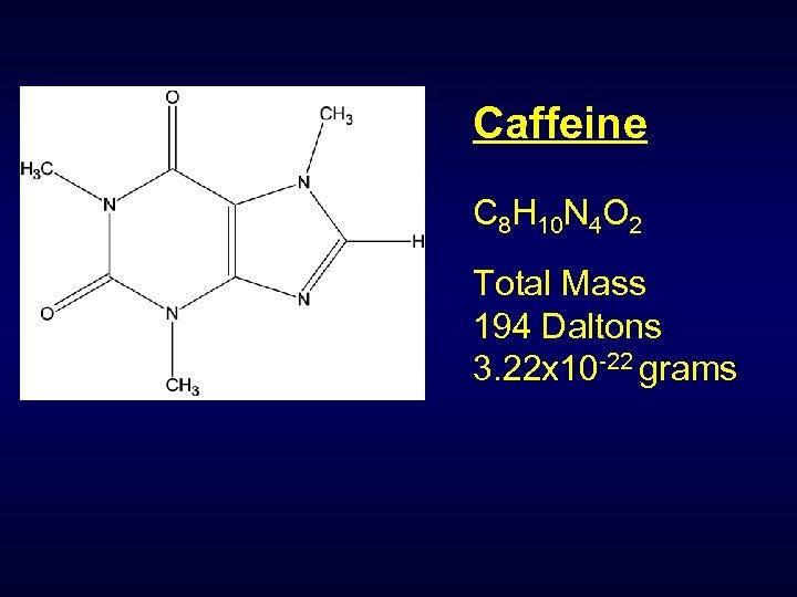 Caffeine C 8 H 10 N 4 O 2 Total Mass 194 Daltons 3.
