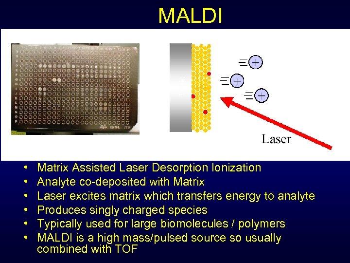 MALDI • • • Matrix Assisted Laser Desorption Ionization Analyte co-deposited with Matrix Laser