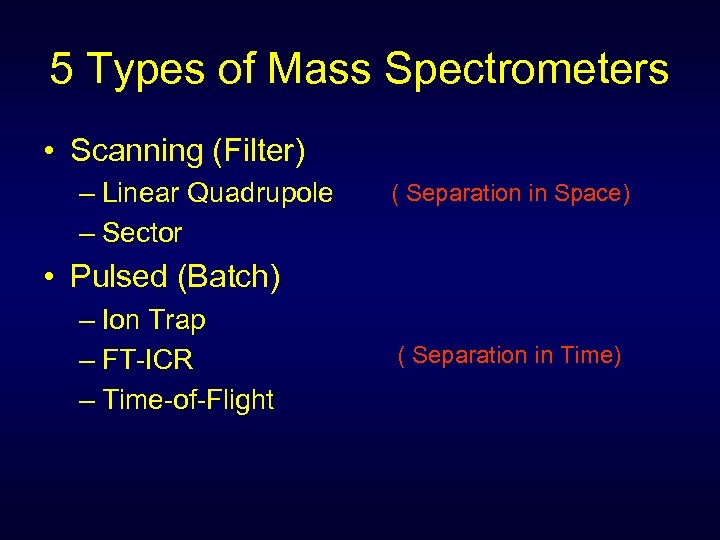 5 Types of Mass Spectrometers • Scanning (Filter) – Linear Quadrupole – Sector (