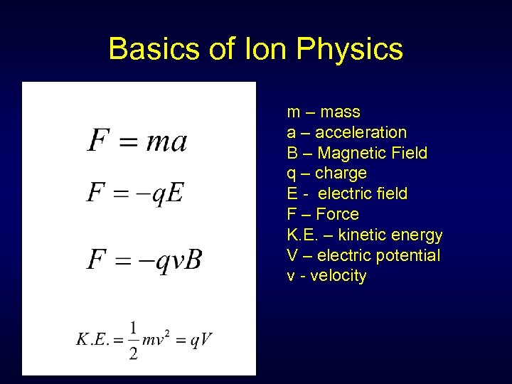 Basics of Ion Physics m – mass a – acceleration B – Magnetic Field