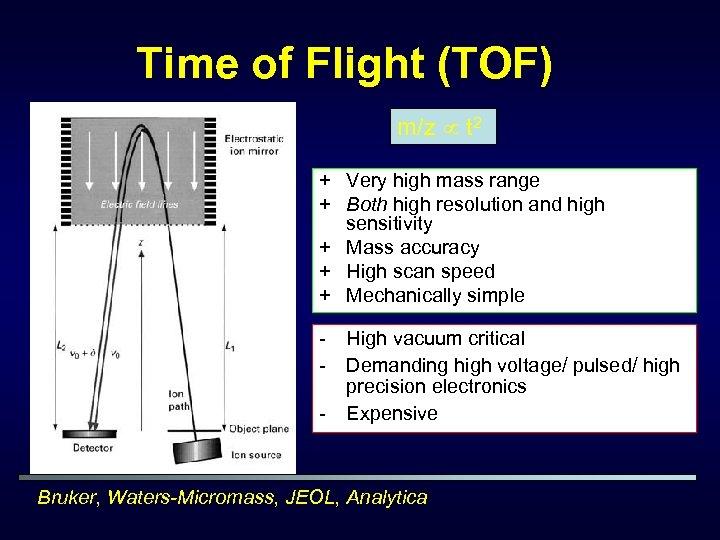 Time of Flight (TOF) m/z t 2 + Very high mass range + Both