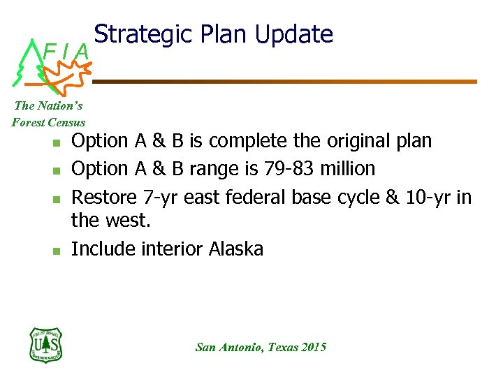 FIA Strategic Plan Update The Nation's Forest Census n n Option A & B