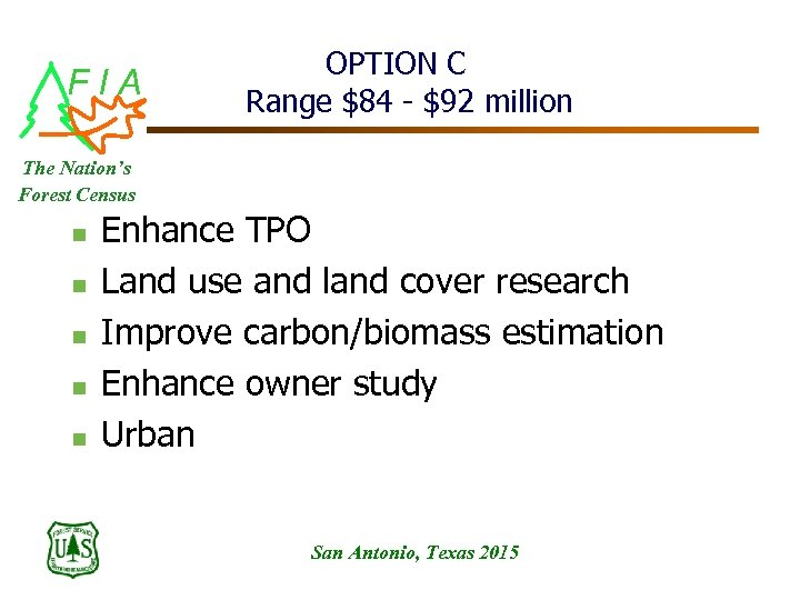FIA OPTION C Range $84 - $92 million The Nation's Forest Census n n