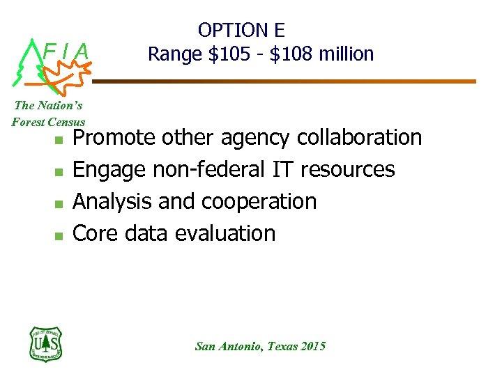 FIA OPTION E Range $105 - $108 million The Nation's Forest Census n n