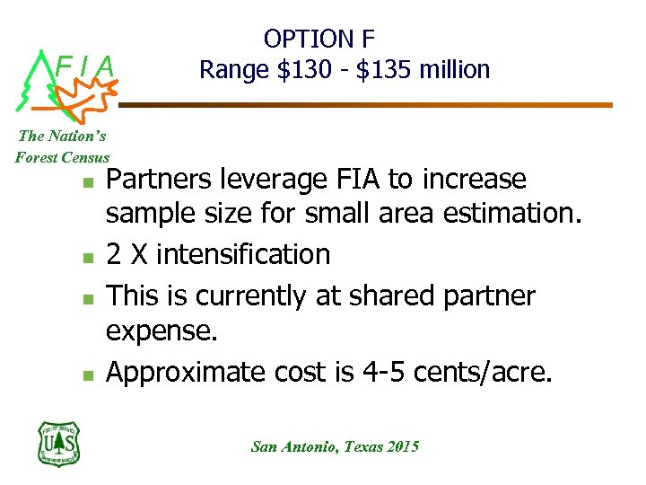 FIA OPTION F Range $130 - $135 million The Nation's Forest Census n n