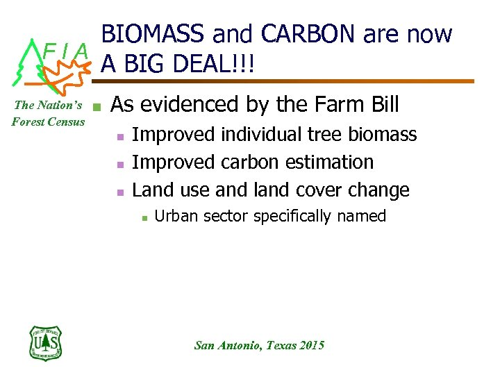 BIOMASS and CARBON are now FIA A BIG DEAL!!! The Nation's n Forest Census