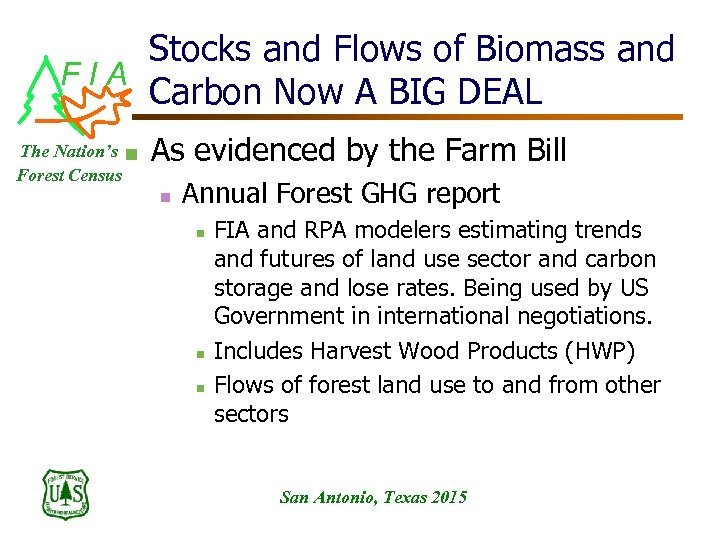 Stocks and Flows of Biomass and FIA Carbon Now A BIG DEAL The Nation's