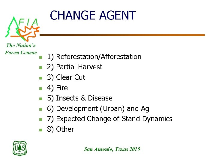 CHANGE AGENT FIA The Nation's Forest Census n n n n 1) Reforestation/Afforestation 2)