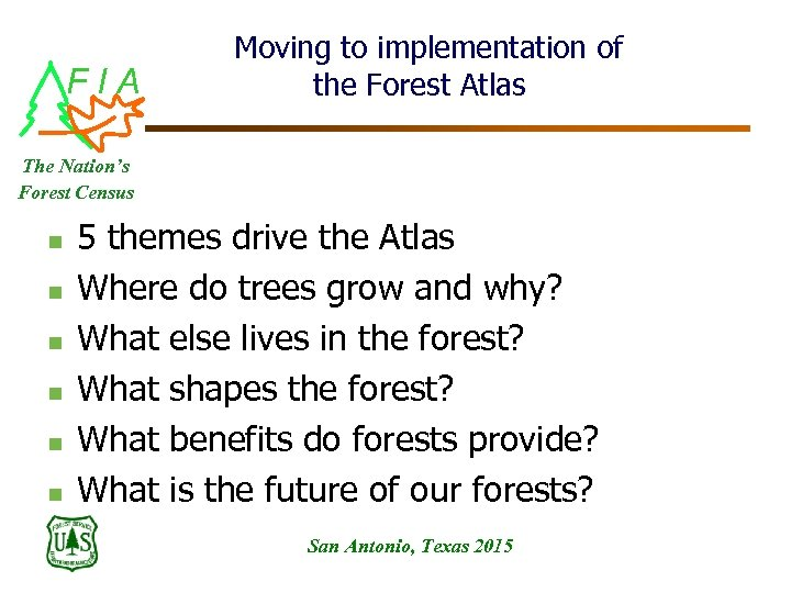 FIA Moving to implementation of the Forest Atlas The Nation's Forest Census n n