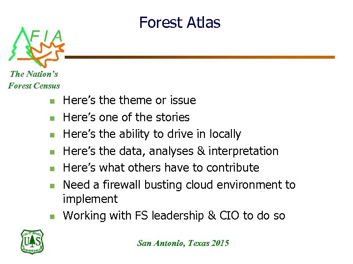 FIA Forest Atlas The Nation's Forest Census n n n n Here's theme or