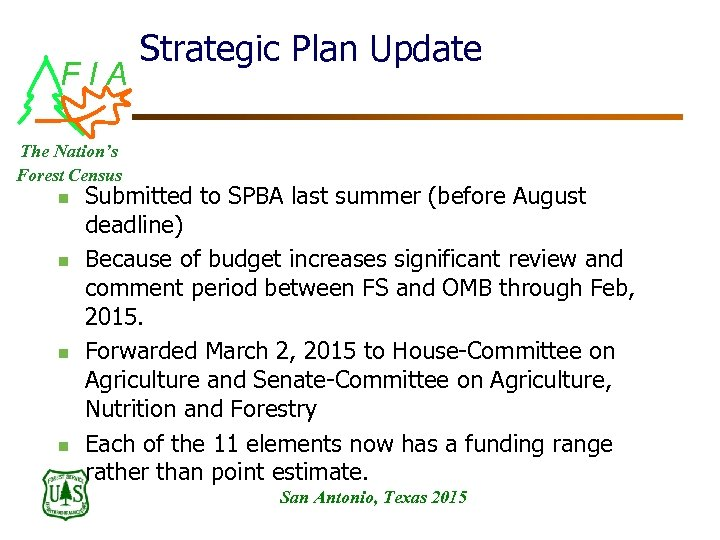FIA Strategic Plan Update The Nation's Forest Census n n Submitted to SPBA last