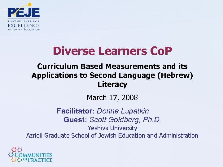 Diverse Learners Co. P Curriculum Based Measurements and its Applications to Second Language (Hebrew)