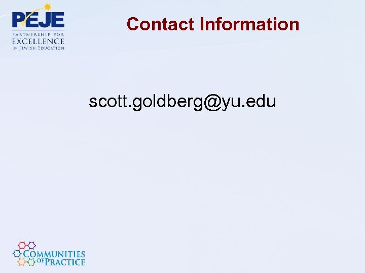 Contact Information scott. goldberg@yu. edu