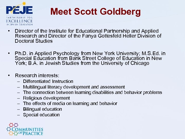 Meet Scott Goldberg • Director of the Institute for Educational Partnership and Applied Research